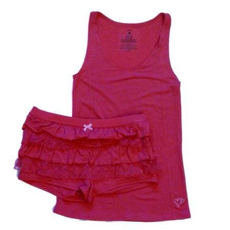Valentines  Womens Fucshia Pink Rhumba Shorts & Tank Pajama Set Ruffle Pajamas - Valentines Pajamas