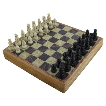 Marble Stone Art Unique India Chess Pieces and Board Set 8 X 8 Inches ()