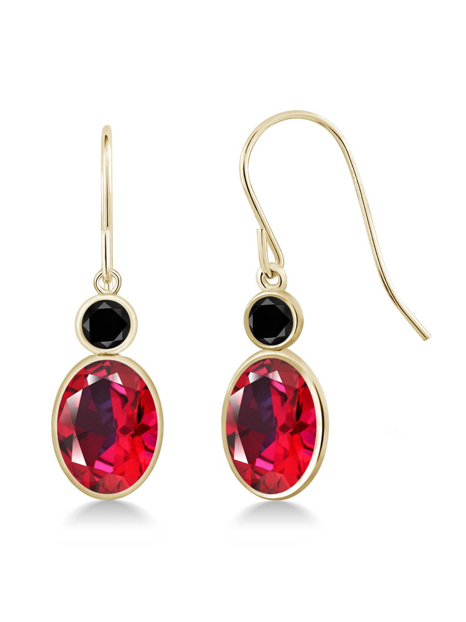 14K Yellow Gold Diamond Earrings Set with Blazing Red Topaz from Swarvoski by