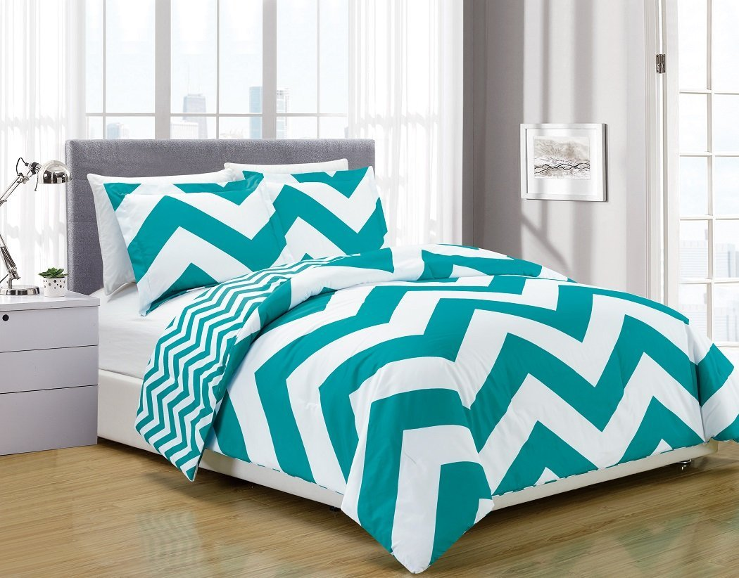 3 Piece Reversible Chevron Zig Zag Duvet Cover Set With Corner Ties King Grey 1 104 Inches X 90 By Chezmoi Collection Ship From Us