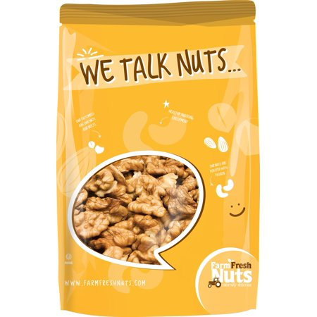 Farm Fresh Nuts Dry Roasted and Unsalted Walnuts (2 LB) (Walnuts Roasted)
