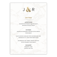 Personalized Wedding Menu Card - Classic Marble - 5 x 7 Flat