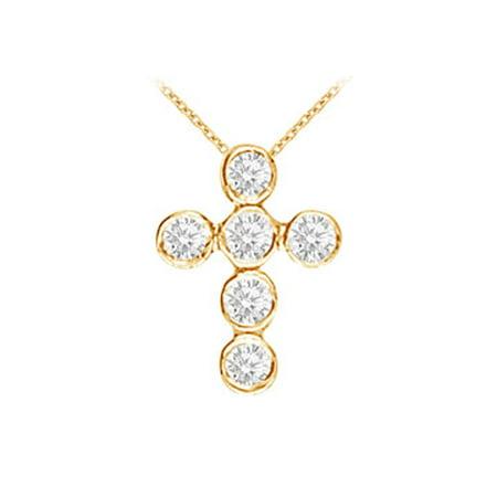 April Birthstone Diamonds Cross Pendant in 14K Yellow Gold - image 1 de 2