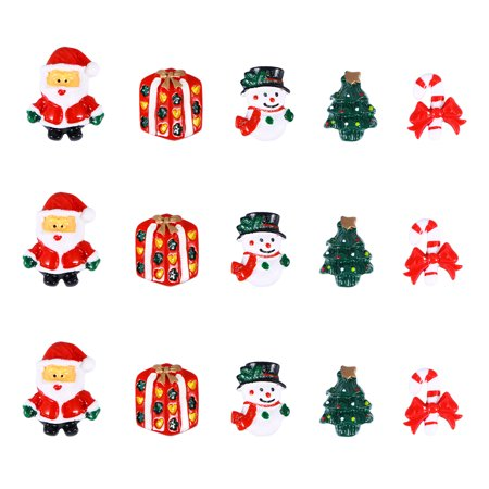 Christmas Resin Snowman Santa Claus Christmas Tree Candy Cane Miniature Ornaments for Home Decoration DIY Accessories 15pcs ()