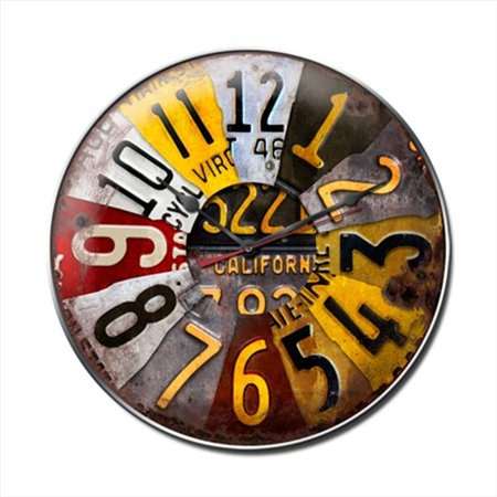 Past Time Signs C221 License Plate Automotive Clock - License Plate Clock