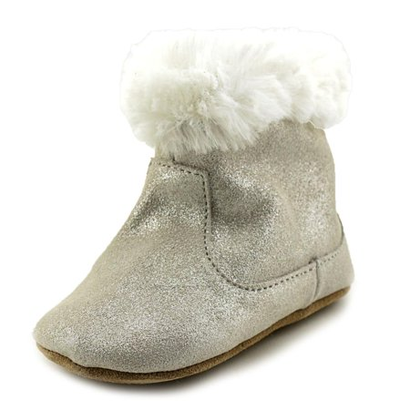 Silver Birthstone Bootie - Robeez Thea Twinkle Infant  Round Toe Synthetic Silver Bootie