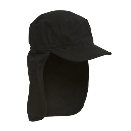 Black Porter Cadet Foreign Legion GI Flap Cap - One (E4hats Cotton Flap Hat)