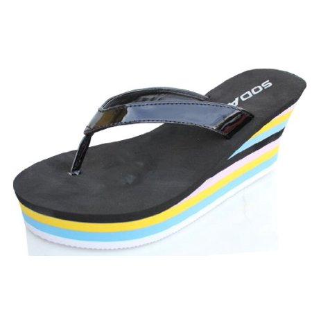 Black Leatherette Color Stripe Platform Wedge Flip Flop Thong Sandals Quail