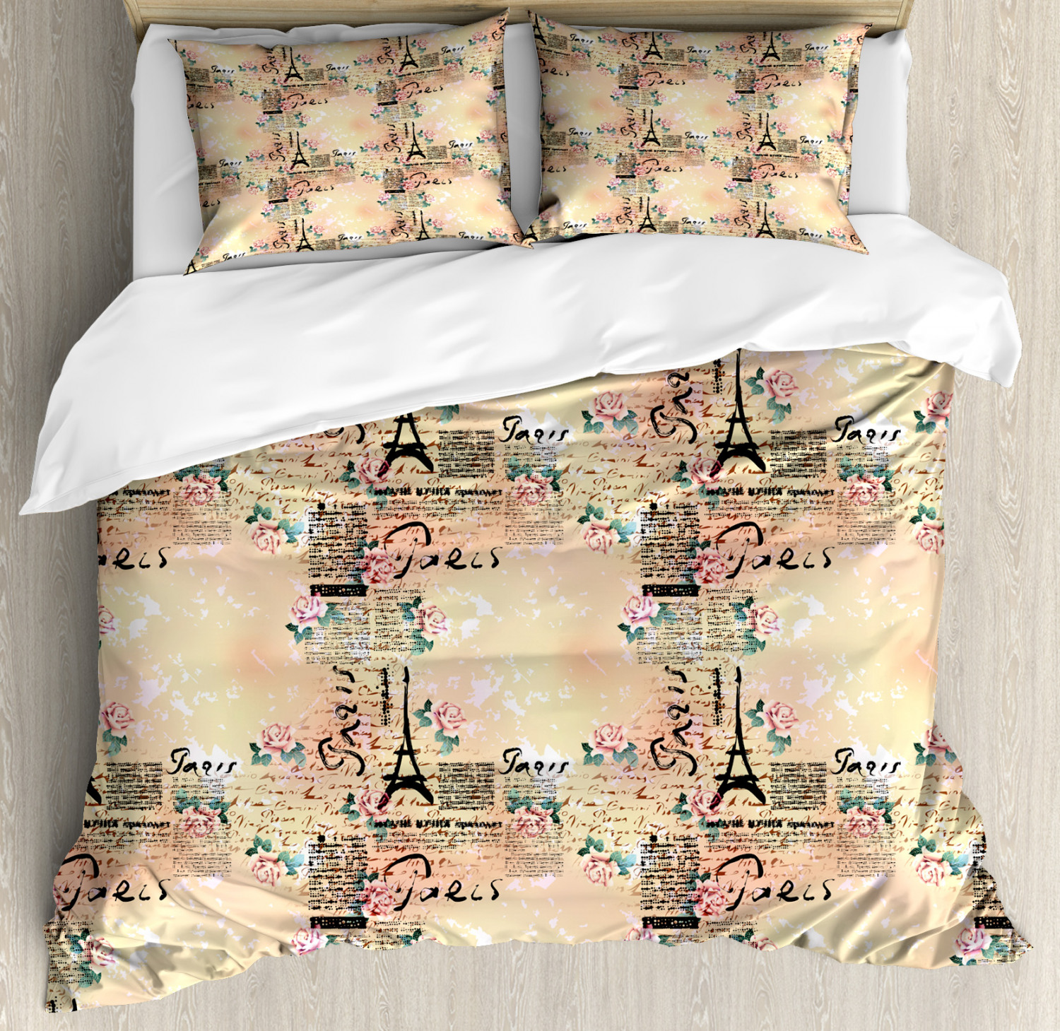 Modern Duvet Cover Set Queen Size French Paris Themed Lettering With Floral Leaves Details Artwork Decorative 3 Piece Bedding Set With 2 Pillow Shams Blue Black And Pale Pink By Ambesonne
