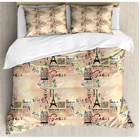Modern Duvet Cover Set, French Paris Themed Lettering with Floral Leaves Details Artwork, Decorative Bedding Set with Pillow Shams, Blue Black and Pale Pink, by Ambesonne ()