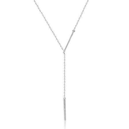 Diamond Accent Double Tiered Bar Necklace in Sterling Silver (Sterling Silver Double Rolo)