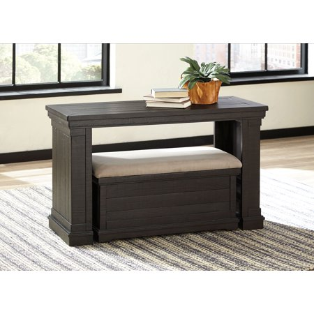 Sharlowe T935-4 50 Sofa Table with Upholstered Ottoman  Made with Solid Pine