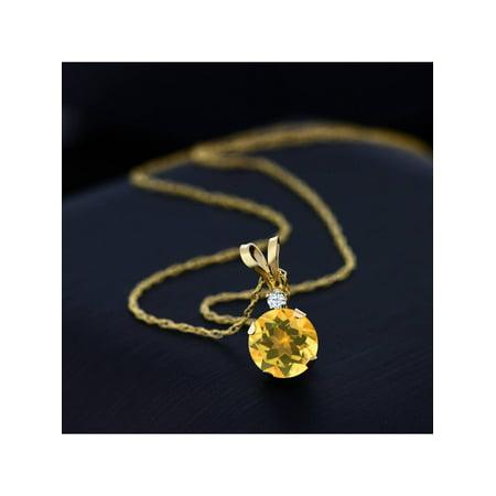 0.72 Ct Round Yellow Citrine White Created Sapphire 14K Yellow Gold Pendant - image 1 de 4