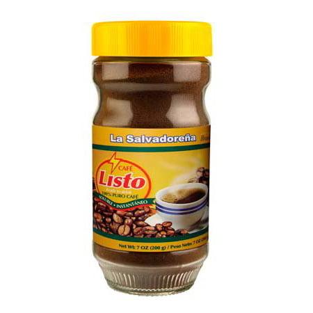 Café Listo 7 Oz (200g) 100% Pure Authentic Instant Coffee From El Salvador 100% Pure Instant Coffee