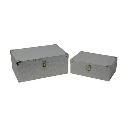 Cheungs Cheung's Set of 2 Silver Wave Vinyl Storage Box with Chrome Corner (Tyson Corner 2 Stores)