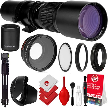 Opteka 500mm / 1000mm f/8 High Definition Preset Telephoto Lens For Canon EOS Digital SLR Cameras Bundle with Opteka 58mm 0.43X HD Wide Angle Lens with Macro & Lens & Filter Accessories (8 Items)