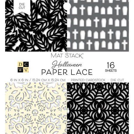 American Crafts PS614650 6 x 6 in. Fall Paper Lace Die Cuts with a View Halloween Mat Stack - Black & White - Halloween Arts And Crafts With Paper Plates