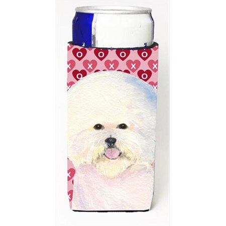 Bichon Frise Hearts Love And Valentines Day Portrait Michelob Ultra bottle sleeves For Slim Cans