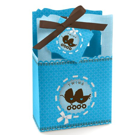 Twin Boy Baby Carriages - Twins Baby Shower Party Favor Boxes - Set of 12