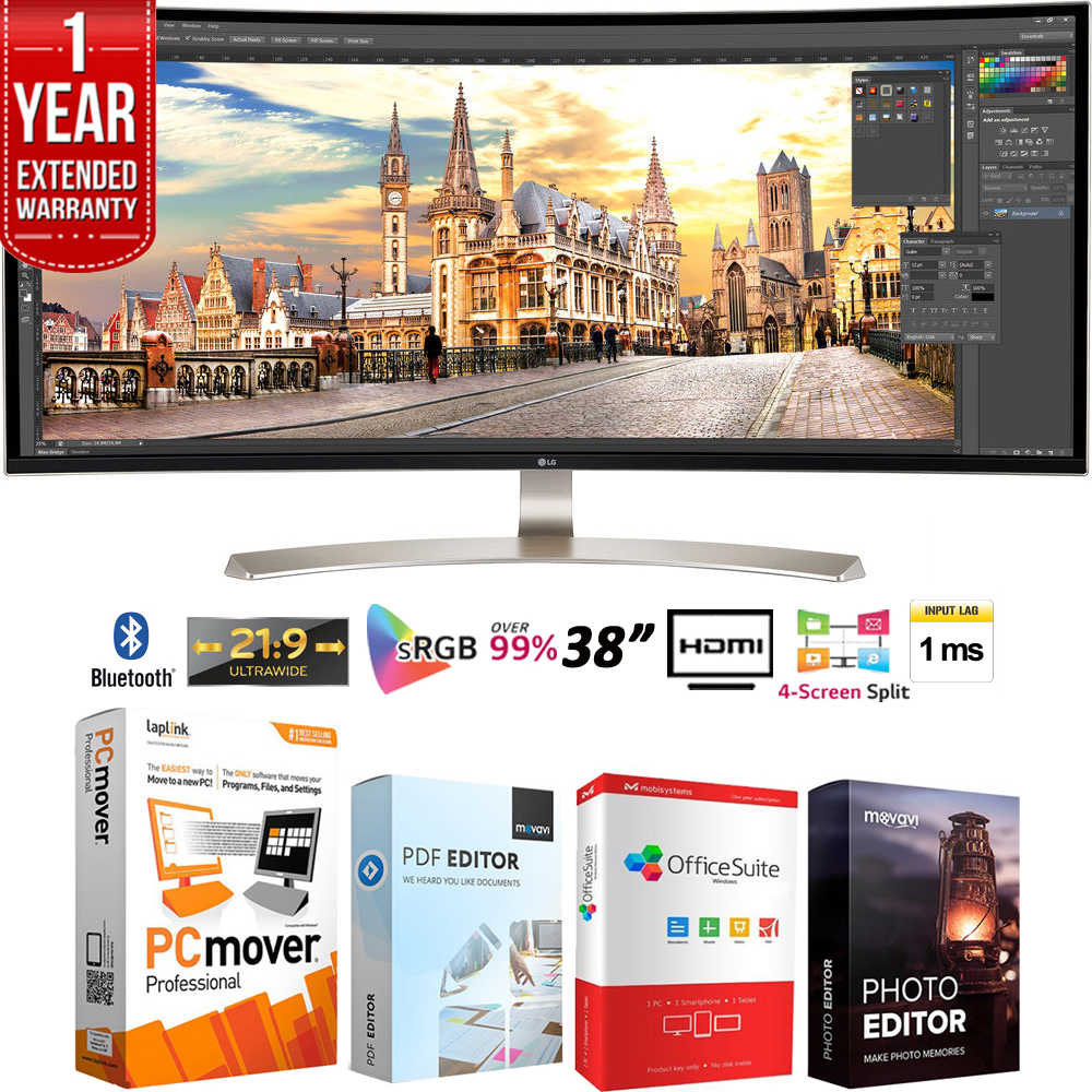 "LG 38UC99-W 38"" 21:9 WQHD+ 3840 x 1600 Curved IPS Monitor + Elite Suite 18 Standard Editing Software Bundle + 1 Year Extended Warranty"