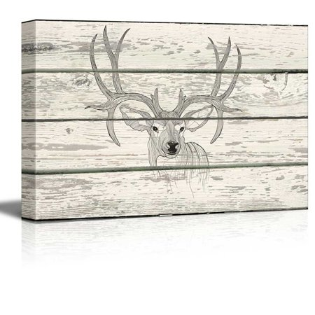 wall26 - Contour Drawing of Stag Deer Antlers Artwork - Rustic Canvas Wall Art Home Decor - 16x24 - Diner Decor