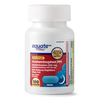 100-Count Equate Extra Strength Acetaminophen PM Caplets 500 mg