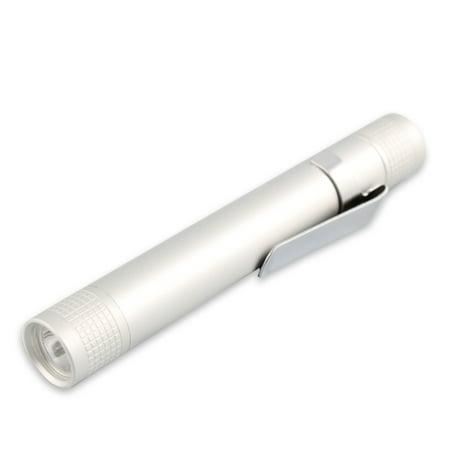 Silver Portable Mini (Mini Pen-type Flashlight Portable LED 3W AAA Battery Torch)