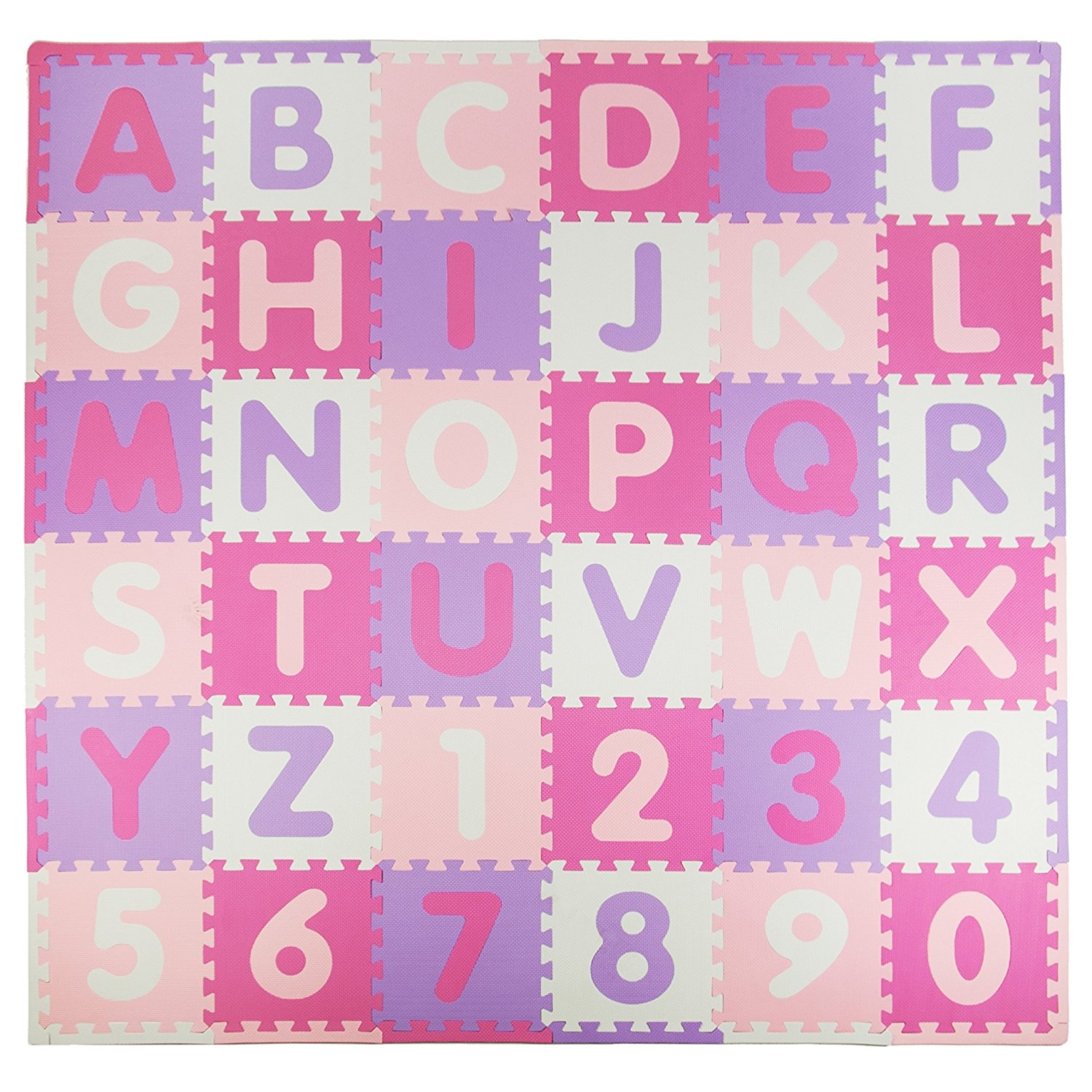 Sleeping Partners Tadpoles 36 Sq Ft ABC Floor Mat, Pink/P...