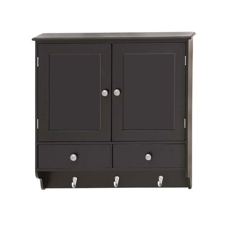 Decmode Contemporary 24 X 24 Inch Wooden Wall Cabinet With Hooks, (Robern 6 Inch Storage Cabinet)