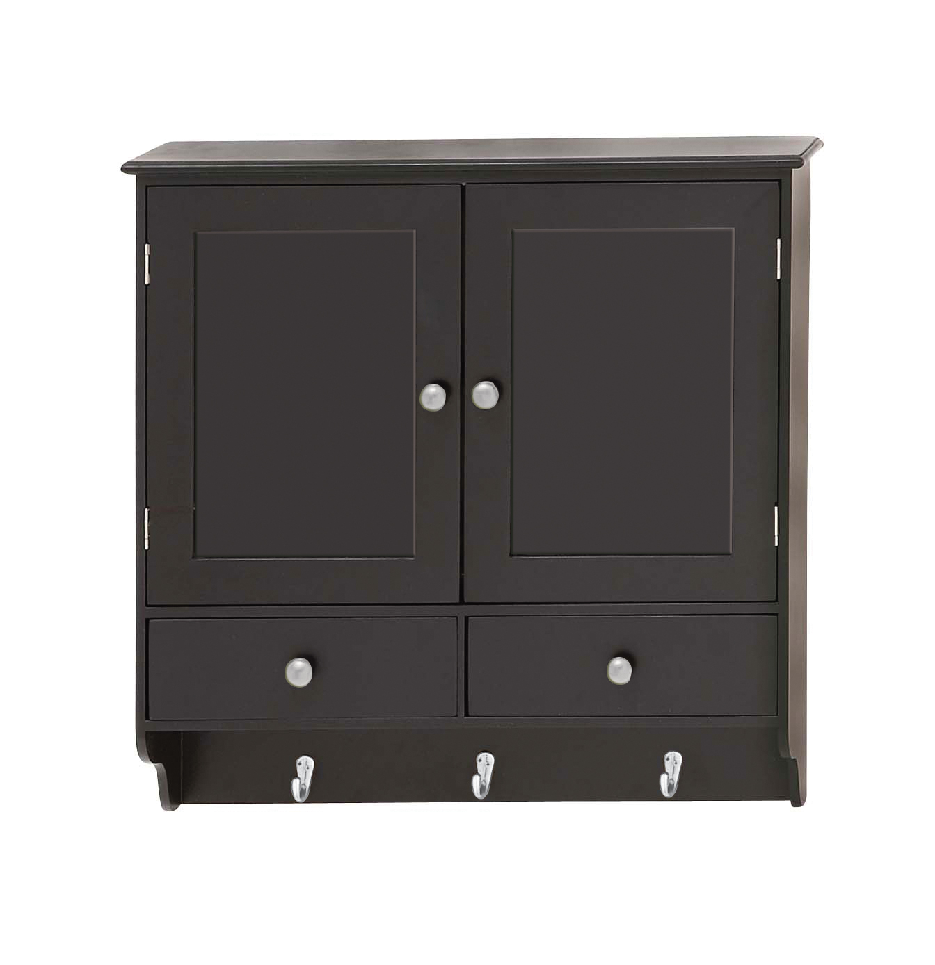 Charmant Decmode Contemporary 24 X 24 Inch Wooden Wall Cabinet With Hooks, Black    Walmart.com