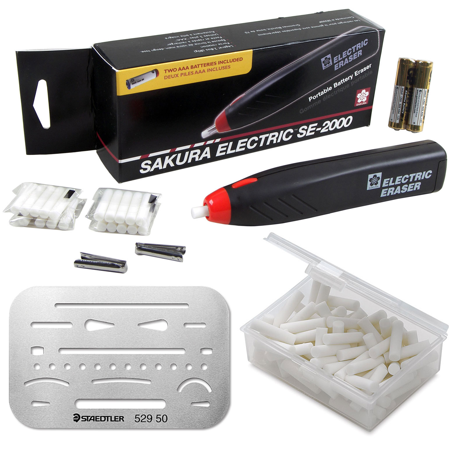 Sakura Electric Eraser Kit - Cordless, Batteries, 80 Erasers & Shield, Portable