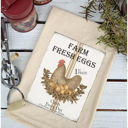 (Farmhouse Natural Flour Sack Farm Fresh Eggs Brown Hen Country Kitchen Towel)