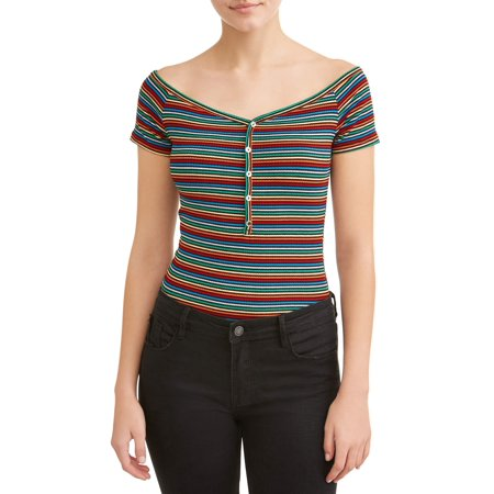 Juniors' Rib Knit Henley Short Sleeve Bodysuit - Junior Onesie