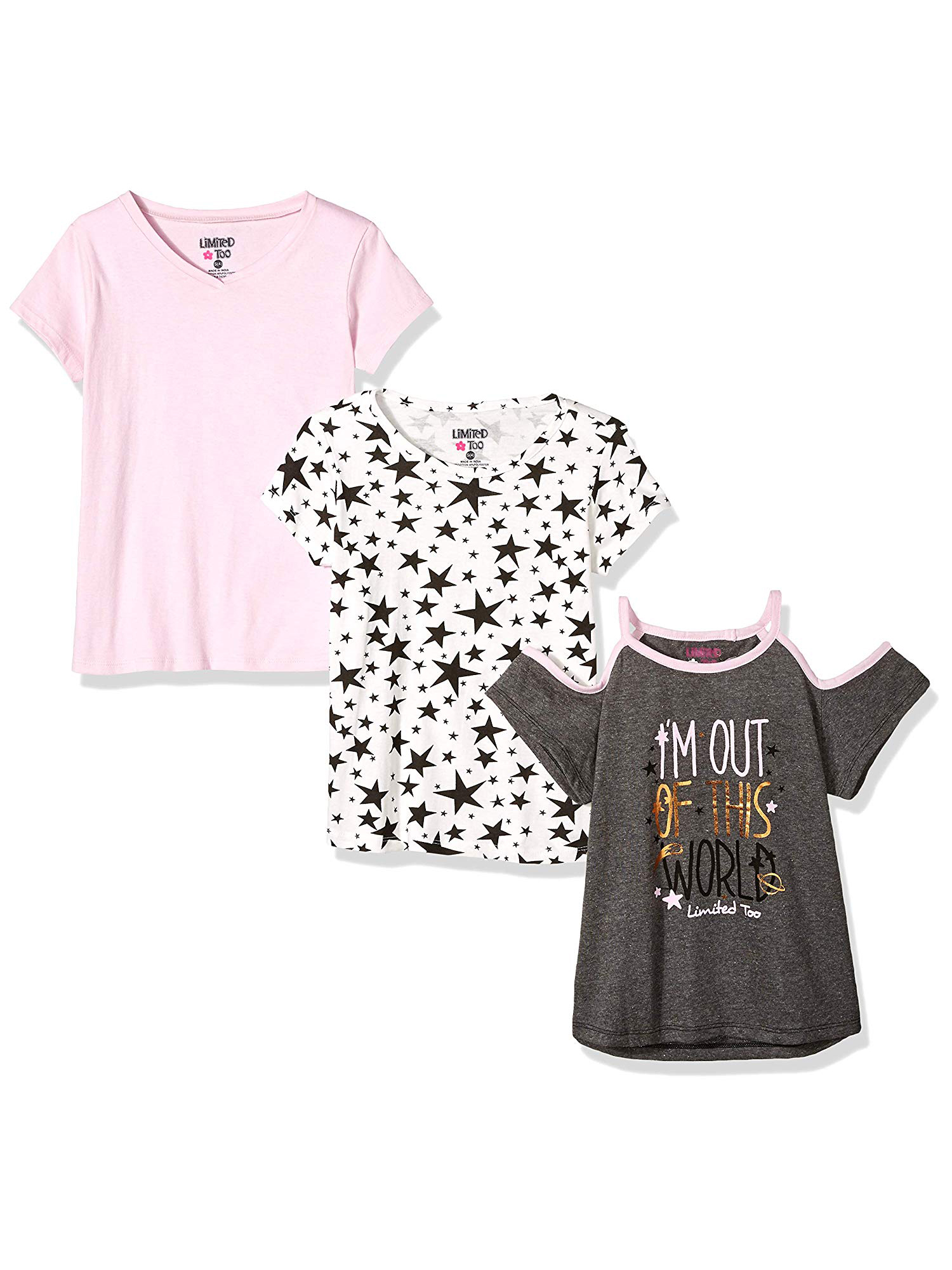 Cold Shoulder Graphic, Print and Solid Tees, 3-Pack (Little Girls & Big Girls)