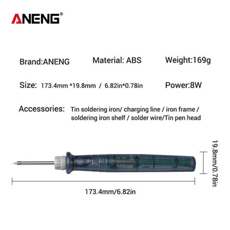 ANENG LT002 Portable USB Electric Powered Adjustable Soldering Iron Tool 5V 8W - image 4 of 7