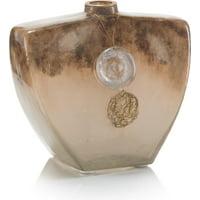 Vase JOHN-RICHARD Triangular Terra Polished Nickel Glass Brass New JR-3535