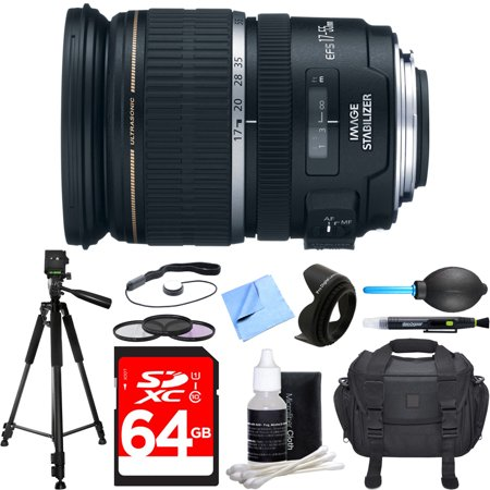 Canon EF-S 17-55mm F/2.8 IS USM Wide Angle Zoom Lens Deluxe Accessory Bundle includes Lens, 64GB SDXC Memory Card, Tripod, 77mm Filter Kit, Lens Hood, Bag, Cleaning Kit, Beach Camera Cloth and