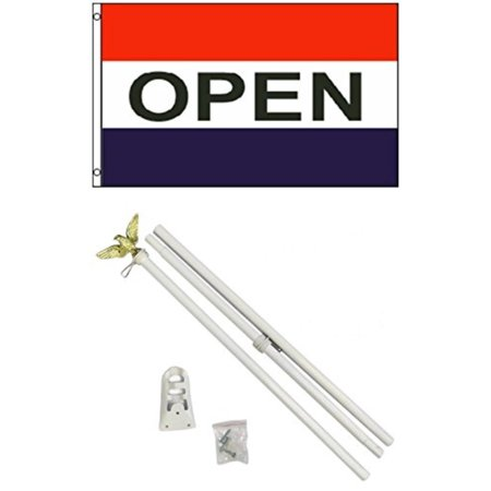3x5 OPEN for Business Flag w/ 6' Outdoor Pole Kit, Light weight durable outdoor polyesterflag providinggreat wind play. By Mission Flags,USA (Motorsport Flags For Sale)