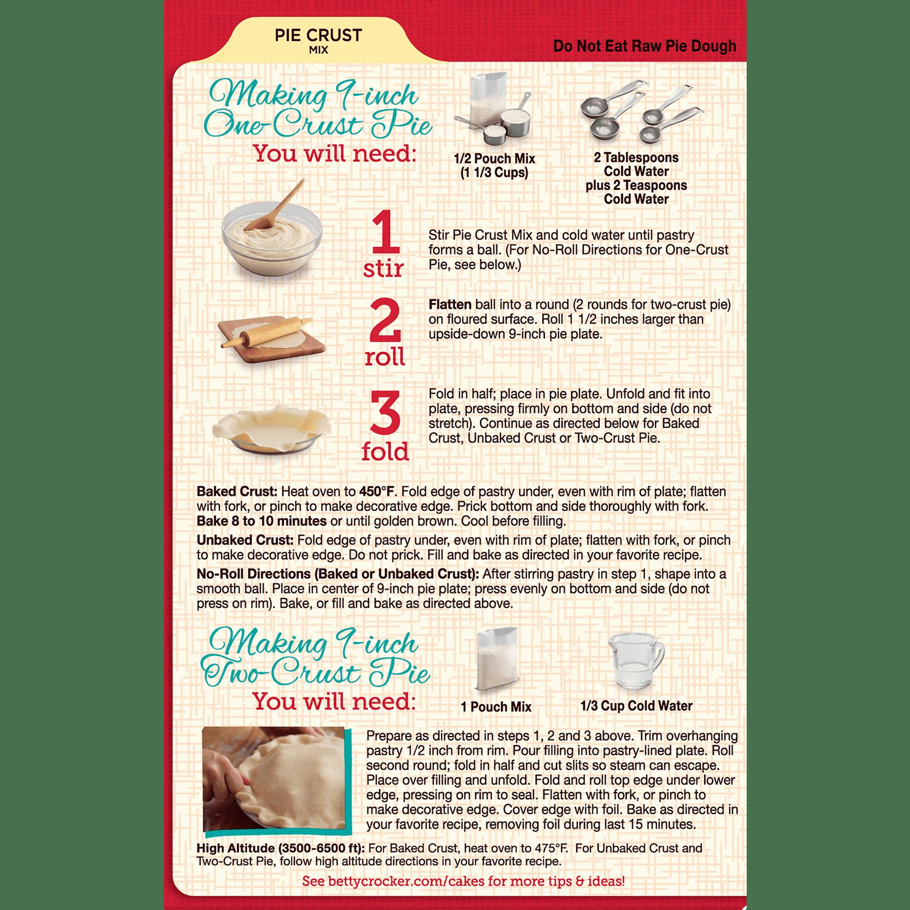 Betty Crocker Pie Crust Mix, 11 oz Box - Walmart.com