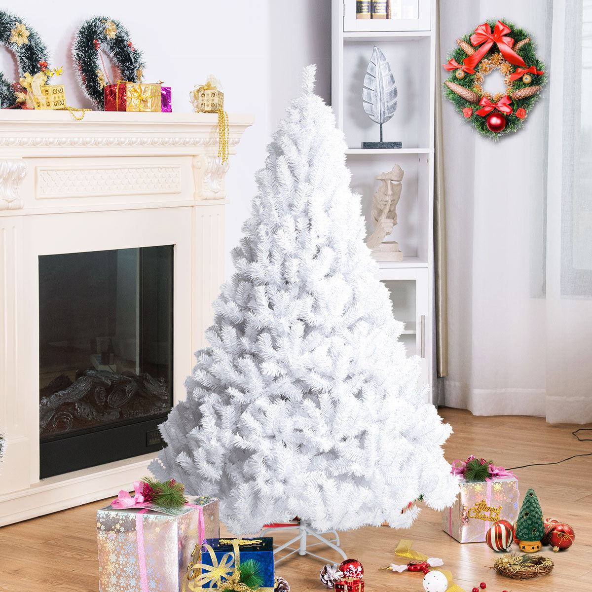Costway 5Ft/6Ft/7Ft/8Ft Artificial PVC Chrismas Tree W/Stand Holiday Season Indoor Outdoor Green