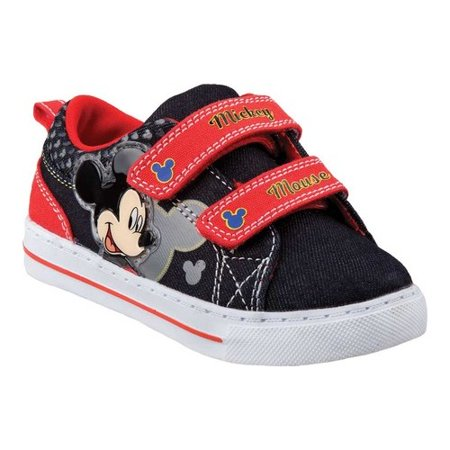 Disney Little Boys Black Red Mickey Mouse Trendy Sneakers (Belle Disney Shoes)