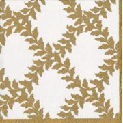 Paper Luncheon Napkins 20pk Acanthus Ivory Gold