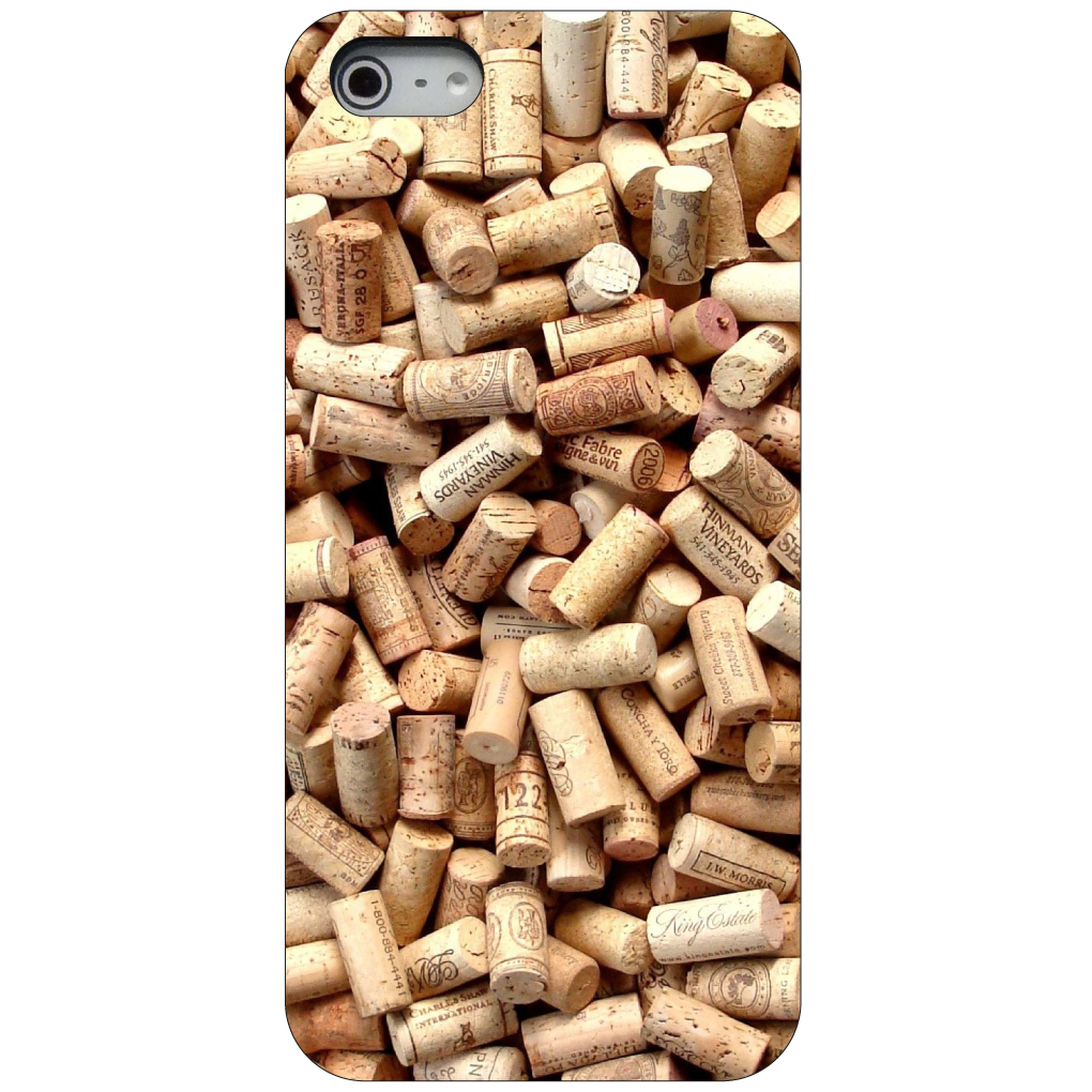 CUSTOM Black Hard Plastic Snap-On Case for Apple iPhone 5 / 5S / SE - Wine Corks
