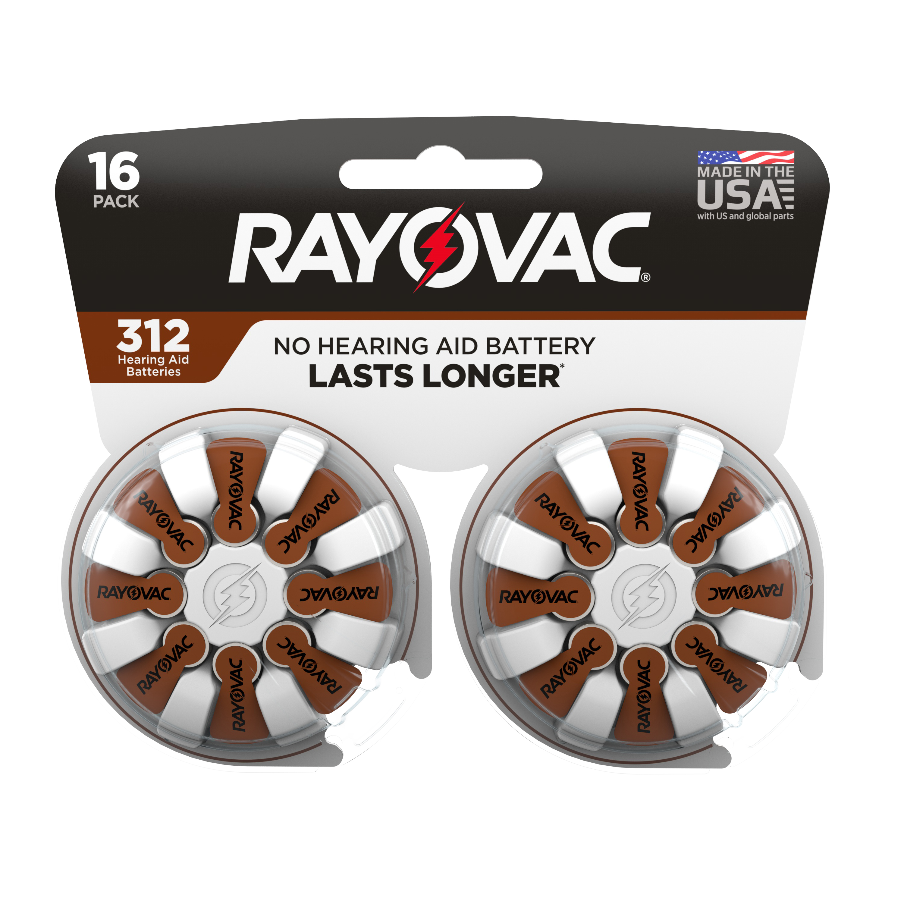 Rayovac Size 312 Hearing Aid Batteries, 16-Pack 312-16