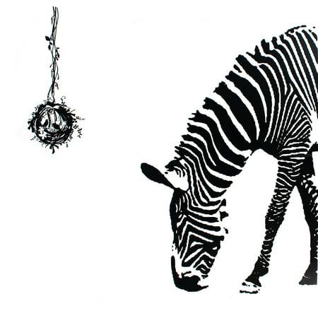 Awesome Zebra Room Decor : Unique Bargains Living Room Decor Detailing DIY Mural Zebra Birds ...