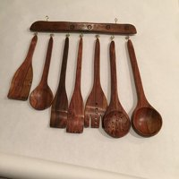 Unique Valentines Day Gift Idea Wooden Kitchen Medieval Era Hand Crafted Decorative Utensil set (7 piece) with hanger