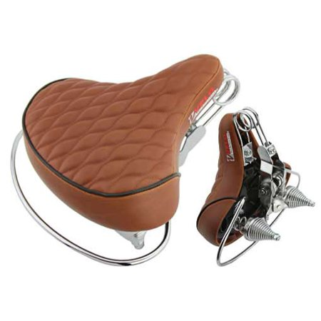 Beach Cruisers Saddle Diamond Web Spring Brown. bicycle part, beach cruiser seat, chopper fixie, road, mountain bike seat