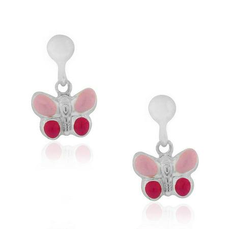 925 Sterling Silver Pink Enamel Butterfly Girls Dangle Drop Earrings, 0.60