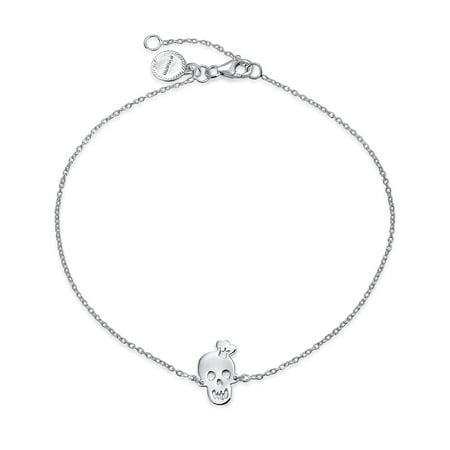 Skull Bracelet Jewelry - Bling Jewelry Cute Goth Girl Skull Anklet Bracelet 925 Sterling Silver