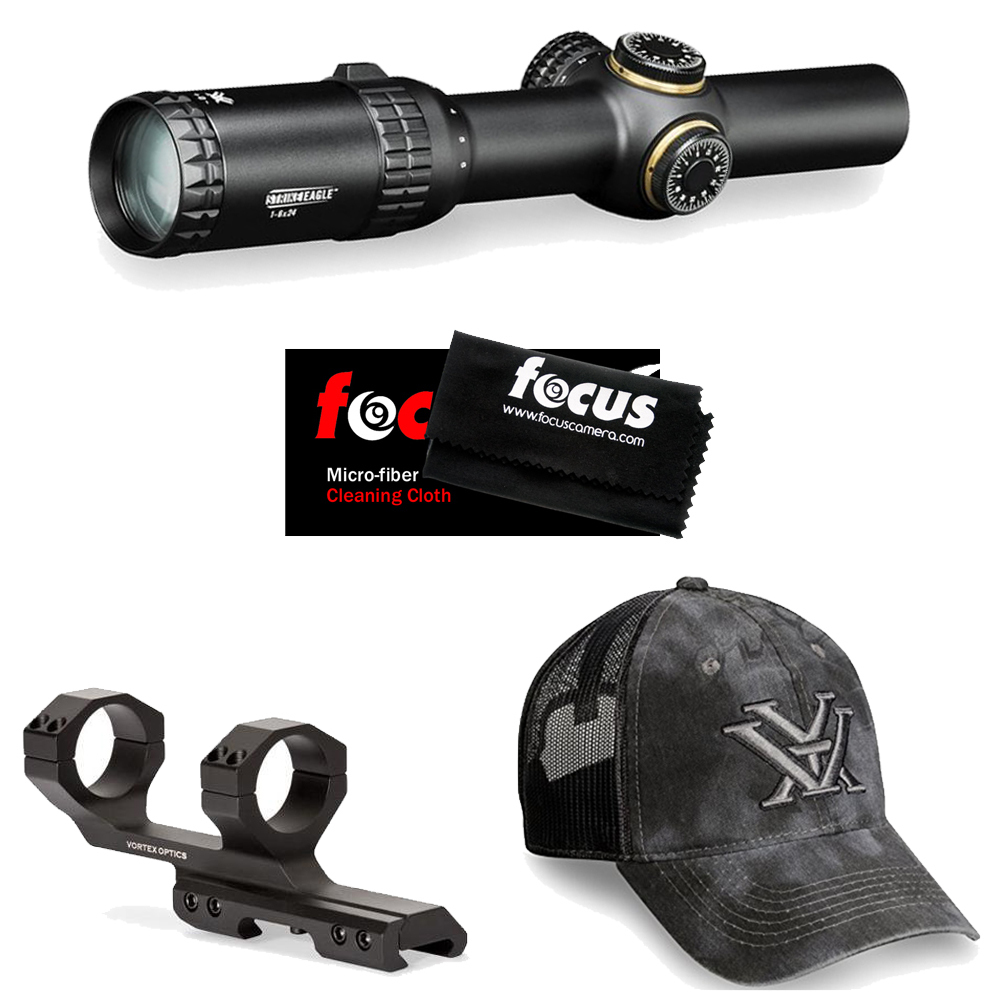 Vortex Optics Strike Eagle 1-6x24 RifleScope w/30mm Cantilever Rings & Hat